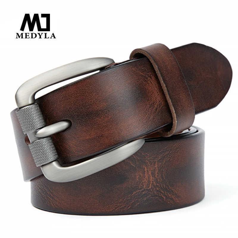 Medyla أزياء الرجال حزام الأعلى الطبيعية جلد طبيعي قوي مشبك الرجال خمر حزام مناسبة للجينز السراويل عارضة cummerbund 210630