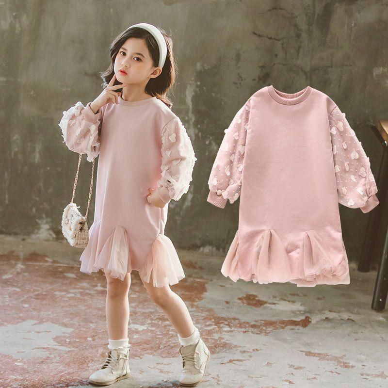 Spring Fashion Girls Dresses Fashion Beading Baby Girls Dresses Cute Priness Kids Spring Dresses for Girls, #8304 210510
