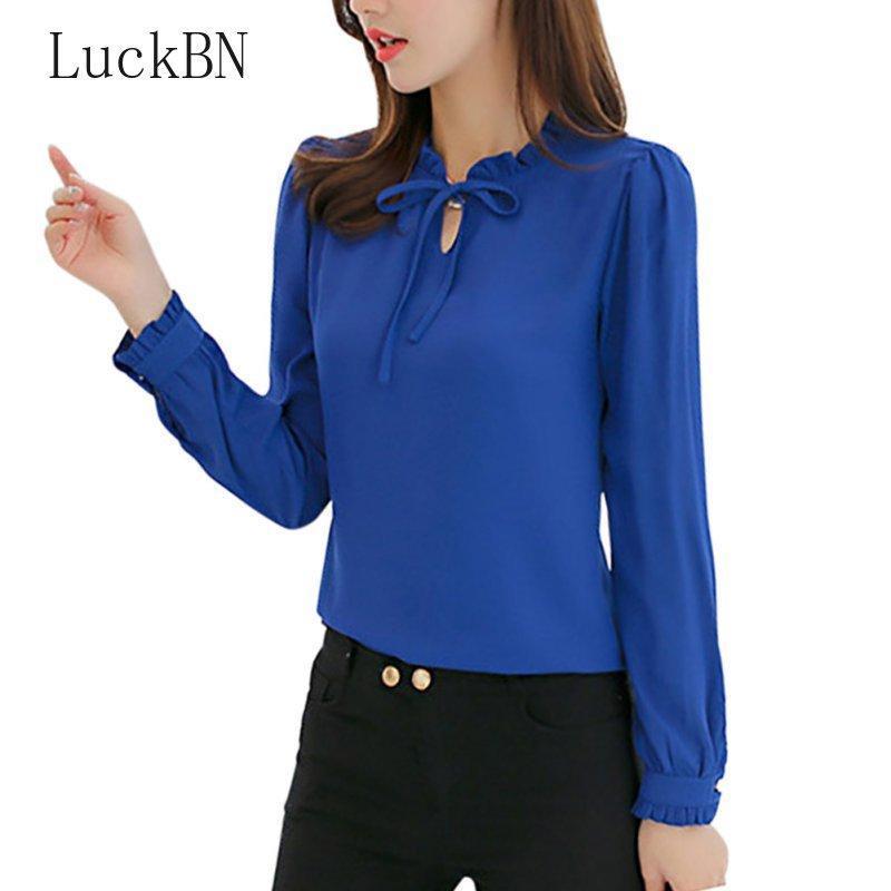 Luckbn automne femmes bleus chemises à manches longues col collier blouses élégantes dames de mousseline de mousseline de mousseline de mousseline de foie travail usure des femmes