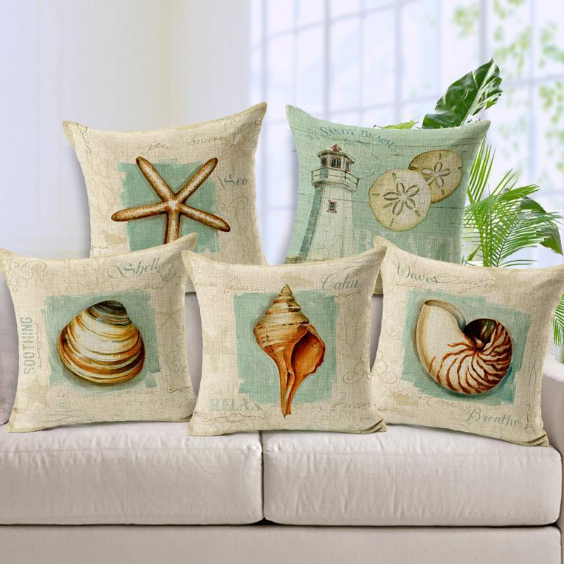 Cushion/Decorative Pillow 2021 Linen Mediterranean Furnishing Oil Painting Lighthouse Case Shell Starfish Cushion Nautical