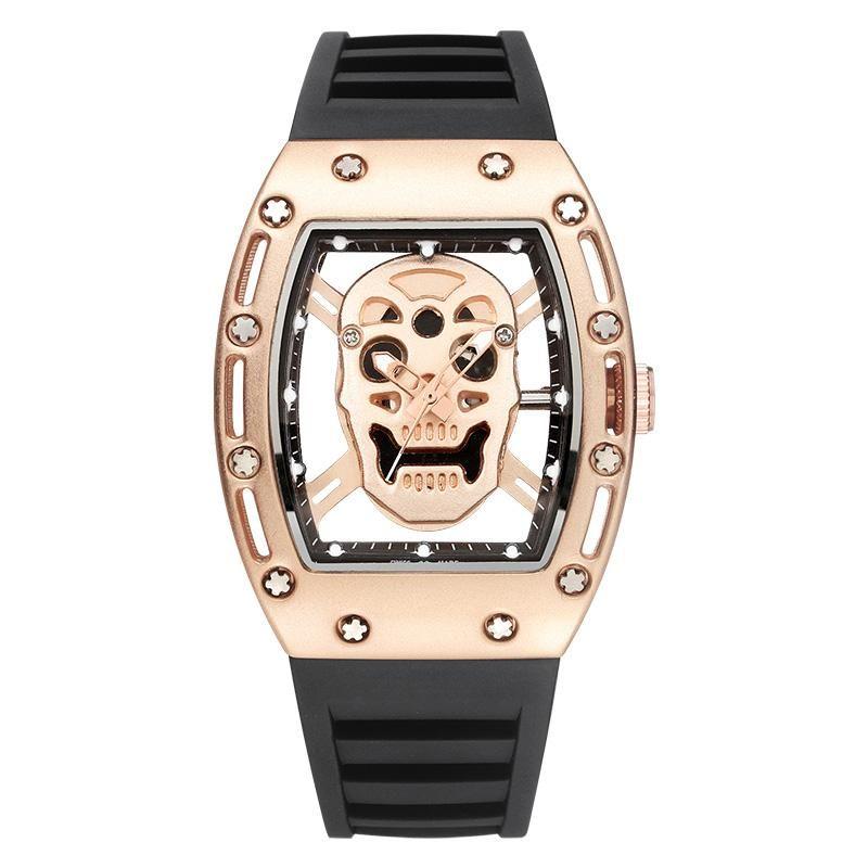 Marca crânio moda quartzo relógios à prova d 'água caixa de presente relógios de pulso