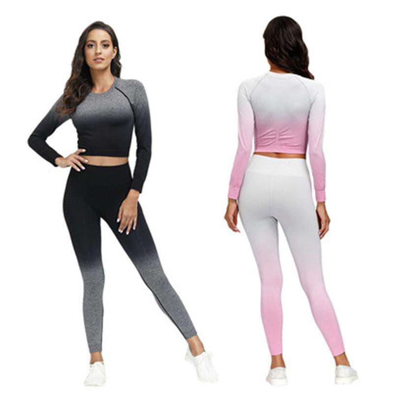 Frauen Frauen Nahtlose Yoga 2 stücke Sets Mode Trend Langarm Tops Hohe Taille Leggings Hose Slim Anzüge Weibliche Hangfarbstoff Fitness Skinny Trac