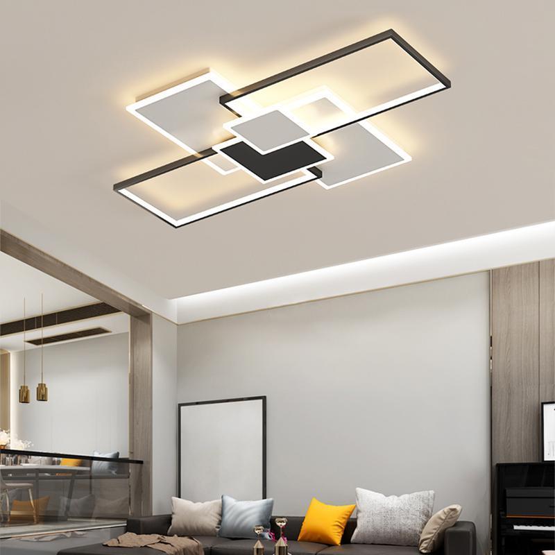 현대 단순성 LED 천장 램프 성격 홈 블랙 화이트 박스 조합 디자인 침실 거실 연구 실내 Ligh 조명