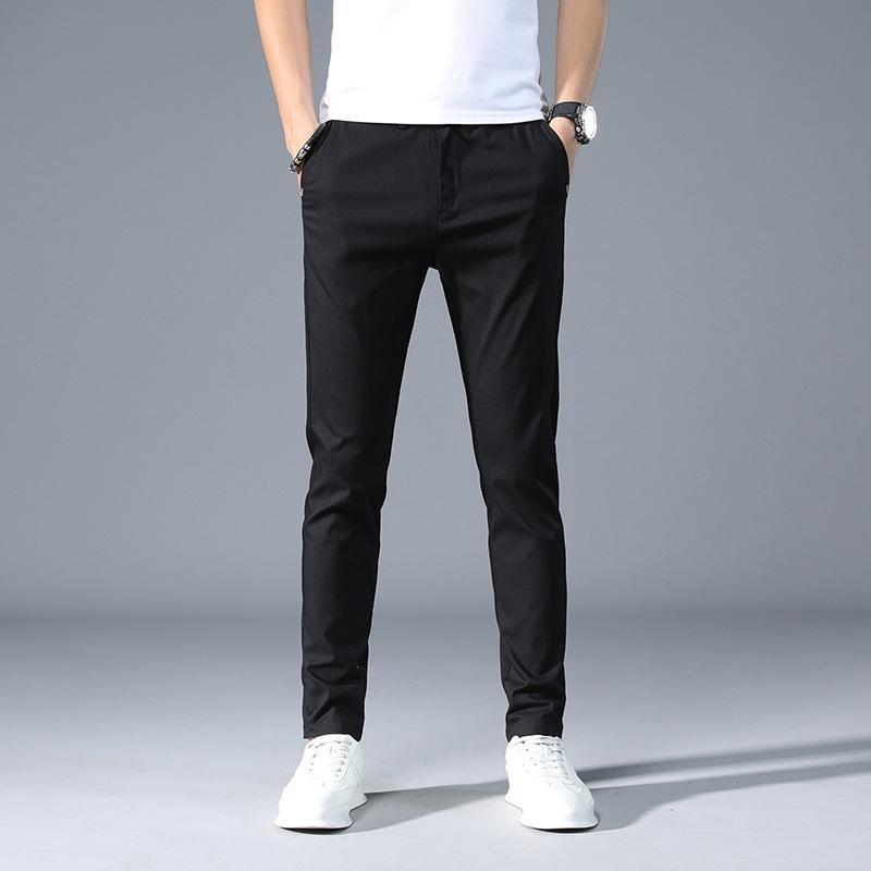 Marka erkek moda düz renk iş joggers erkekler 2021 ilkbahar yaz pamuk rahat pantolon uzun klasik siyah ince ince pantolon erkek