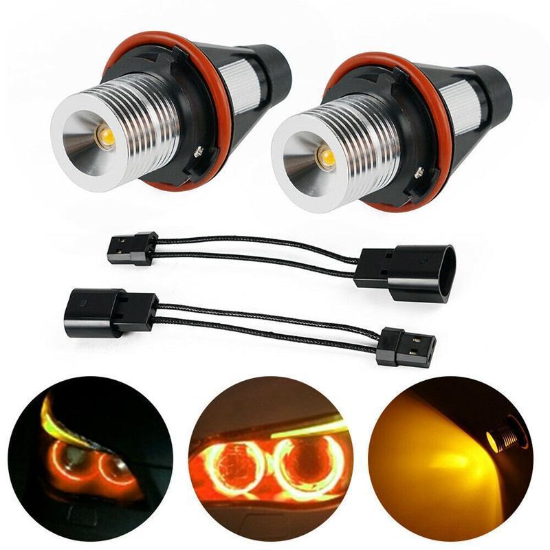 Amber LED Angel Eye Marker Halo Light Bulbs Lamps For - E39 E53 E60 E63 E64 E66 E87 5 6 7 X3 X5 [Pack Of 2 Pcs] Car Headlights