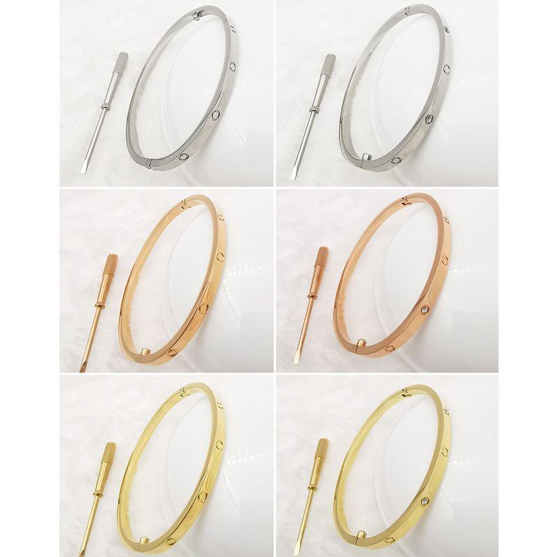 Braccialetti d'amore in acciaio inox all'ingrosso braccialetti in acciaio inox argento rosa oro per le donne uomini cacciavite braccialetto coppia gioielli donna con borsa 16-22 cm