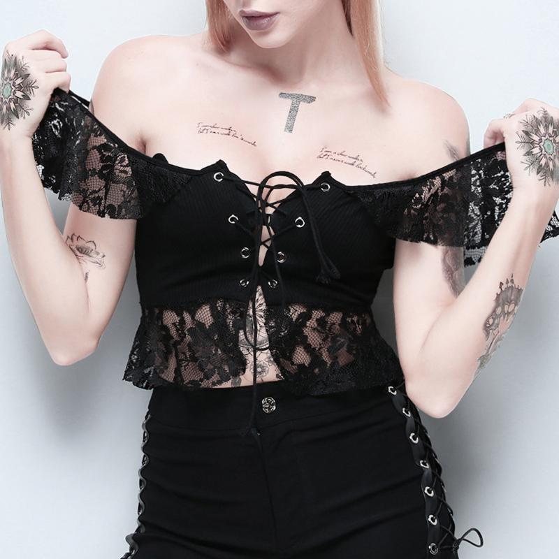 Feitong Bluzlar Kadınlar Yaz Tops Yaz 2021 Gotik Katı Dantel Bandaj Kısa Kollu Kısa Tops Bluz Kadın Giysileri