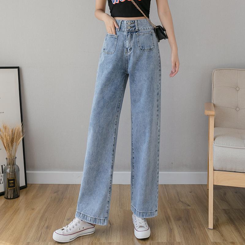 جينز المرأة عالية الخصر فضفاضة الساق واسعة مستقيم للنساء s m l xl