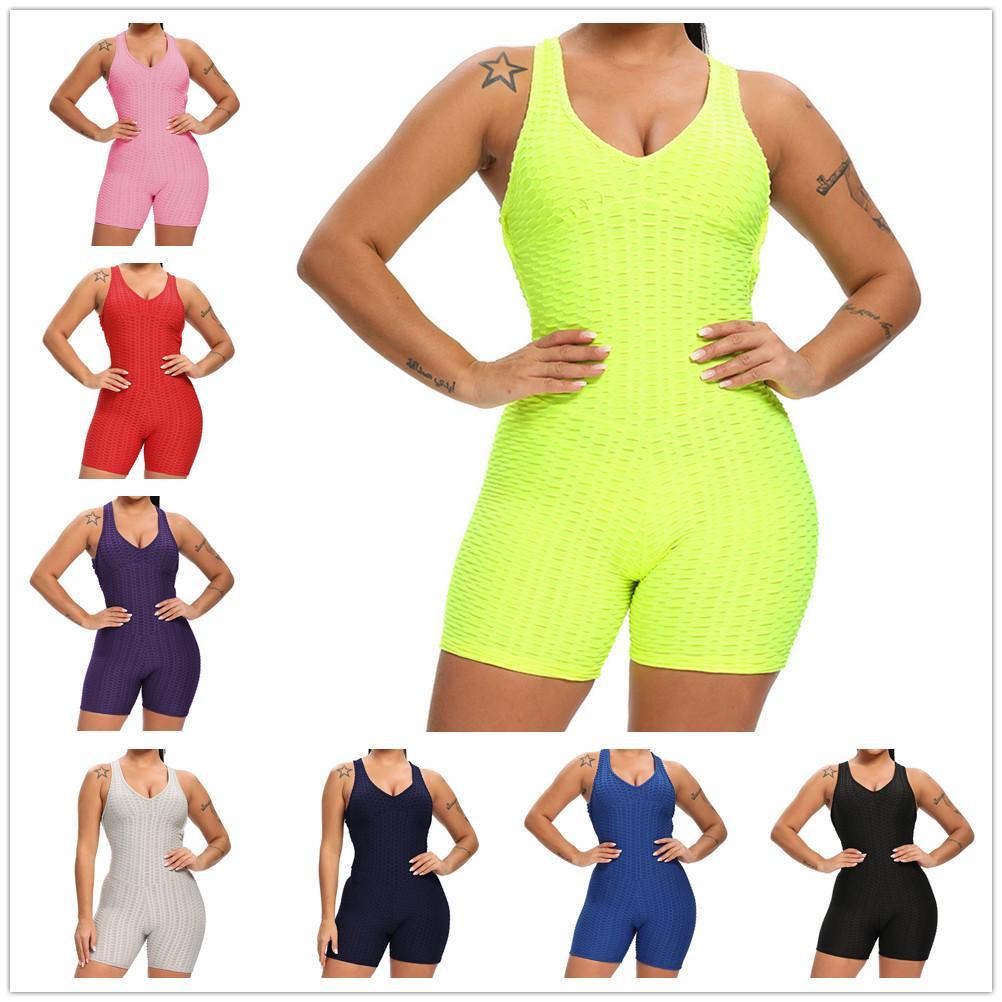 Tute da donna Summer Rompere Pantaloncini Tshirt Vestito Tshirt Ventilato Colore solido Vita alta Vita Sexy Collant Sport Sport da corsa Yoga Tuta Plus Size S / M / L / XL