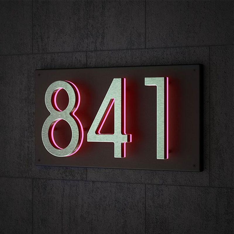 Dekorative Buchstaben Zahlen Metall 3D LED modernes Haus Schwarz Weiß Licht Edelstahl Outdoor Wasserdichte Home El Tür Platte Zeichen Andere Hardware