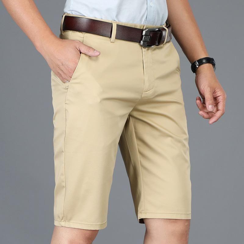 Pantaloncini da uomo Khaki Black Black Black Business Business Casual Fit 2021 Summer Brand Lightweight Cotton Stretch Moda Solid Color Shorts, 8036