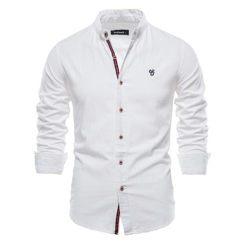 AIOPESON Bahar Pamuk Keten Gömlek Erkekler Katı Renk Yüksek Kalite Uzun Kollu Gömlek Erkekler Için Bahar Rahat Sosyal Erkek Gömlek 210706