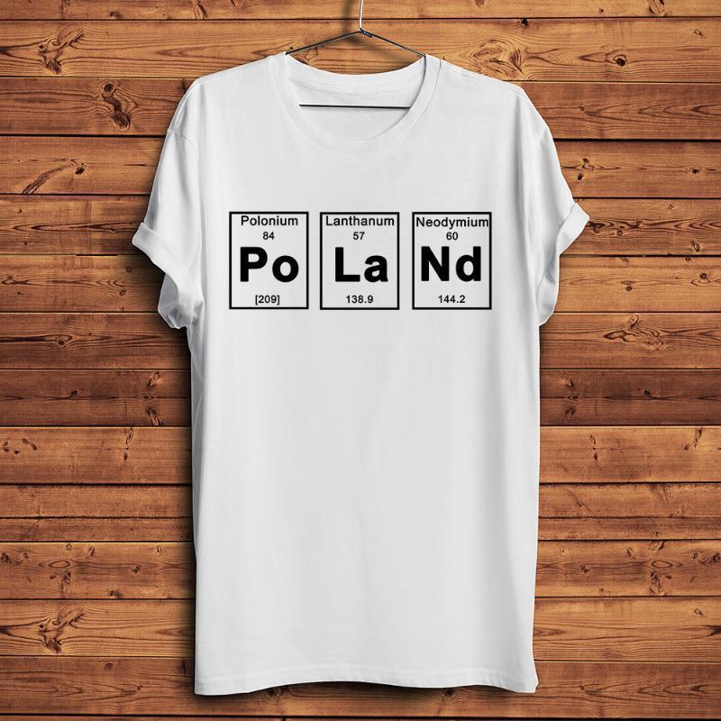 T-shirts Elemente Periodensabelle Polen Brief Druck Lustige Geek T-shirt Männer Weiß Casual Unisex Streetwear Hemd Polnische Geschenk T-Shirts T-Shirts