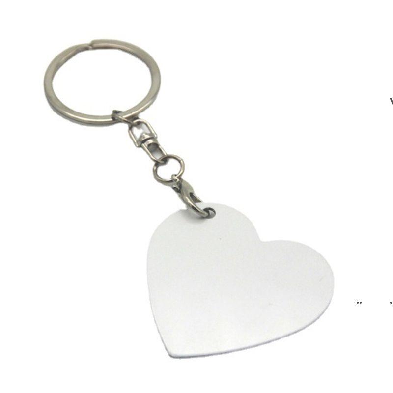 Neue 7 Stil doppelseitige Wärmeübertragung Schlüsselanhänger Anhänger Sublimation Blank Metal Keychain Gepäckdekoration Schlüsselanhänger DIY Geschenk EWF7841