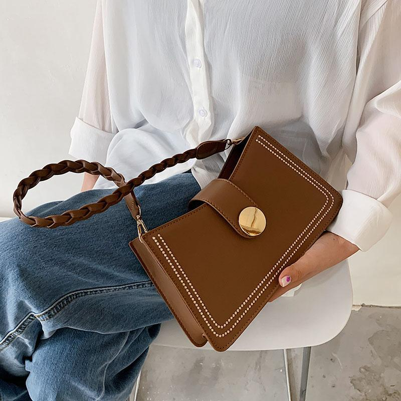 Shoulder Bags Women Pu Leather Small Purse Woven Strap Fashion Crossbody Messenger Handbags For