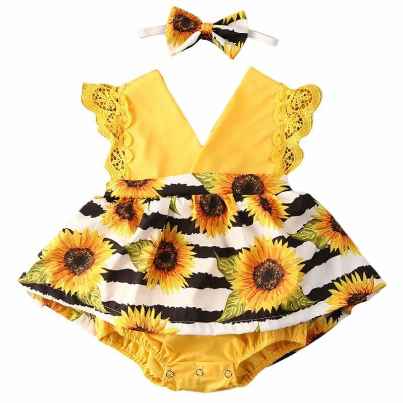 Monos 2021 Nacido Niño Bebé Bebé Sunflower Vestido de Romper Dumpsuit Playuit Diadema Setfits Set 6-24m
