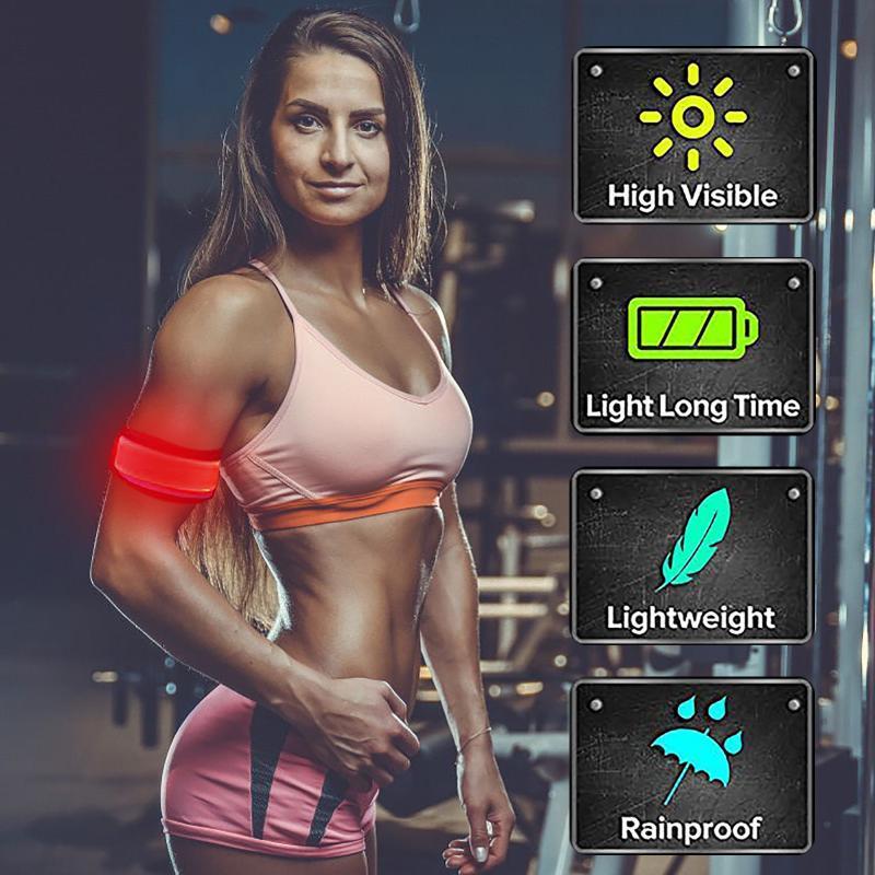 빛을 켜기 led armbands 손목 밴드를 실행하는 반사 장비 깜박이는 스포츠 팔찌 밤 안전 스포츠 경고 손목 지원