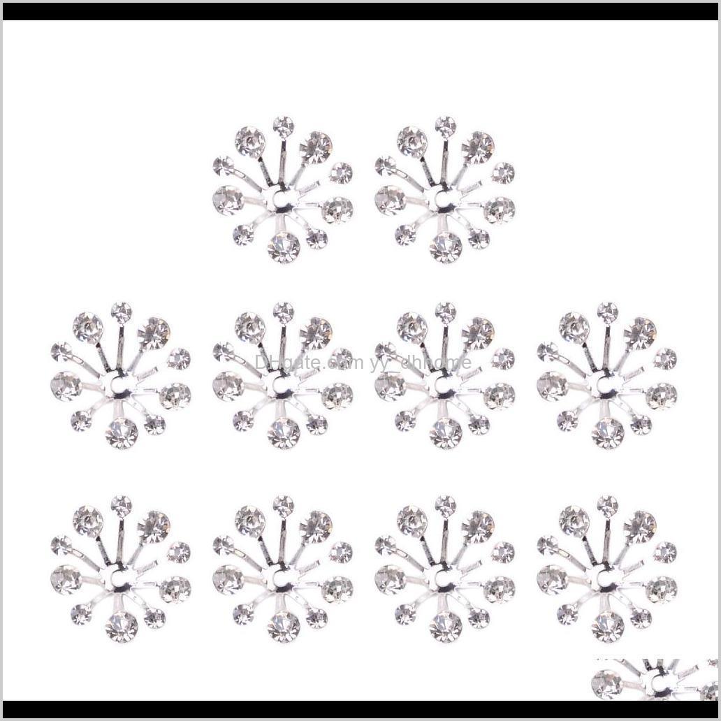 Tools 10Pcs Crystal Filigree Flower Bead Petal End Cap Finding For Jewelry Making Bcfh9 Nug1U