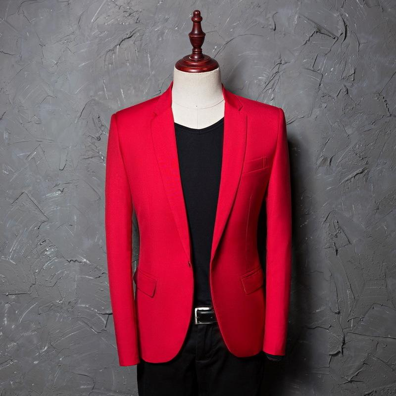 Rouge Slim Fit Simple Broters Hommes Automne Neuf Notched revers costume Veste Business Mariage Tuxedo Blazers