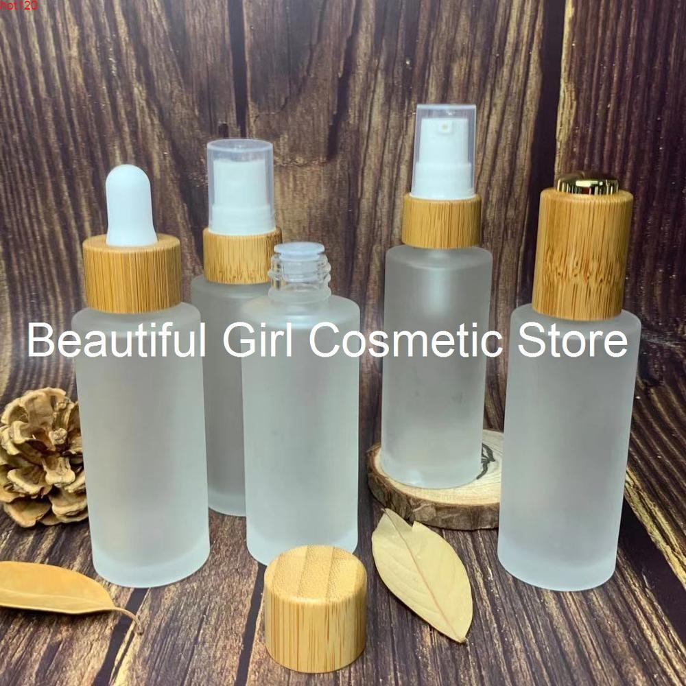 Doğal cilt bakımı krem kozmetik kavanoz bambu püskürtücü üst lüks losyon özü pompa buzlu şişe 1 oz parfüm / uçucu yağlar için