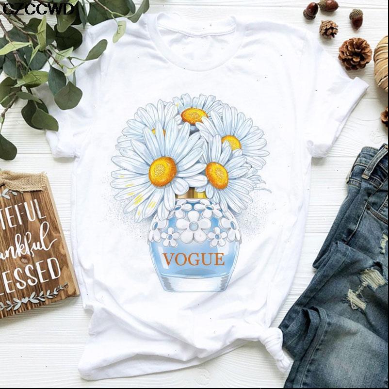 Women Clothes VOGUE T Shirt Daisy Perfume Bottle Sweet Print Short Sleeve Summer Female shirts
