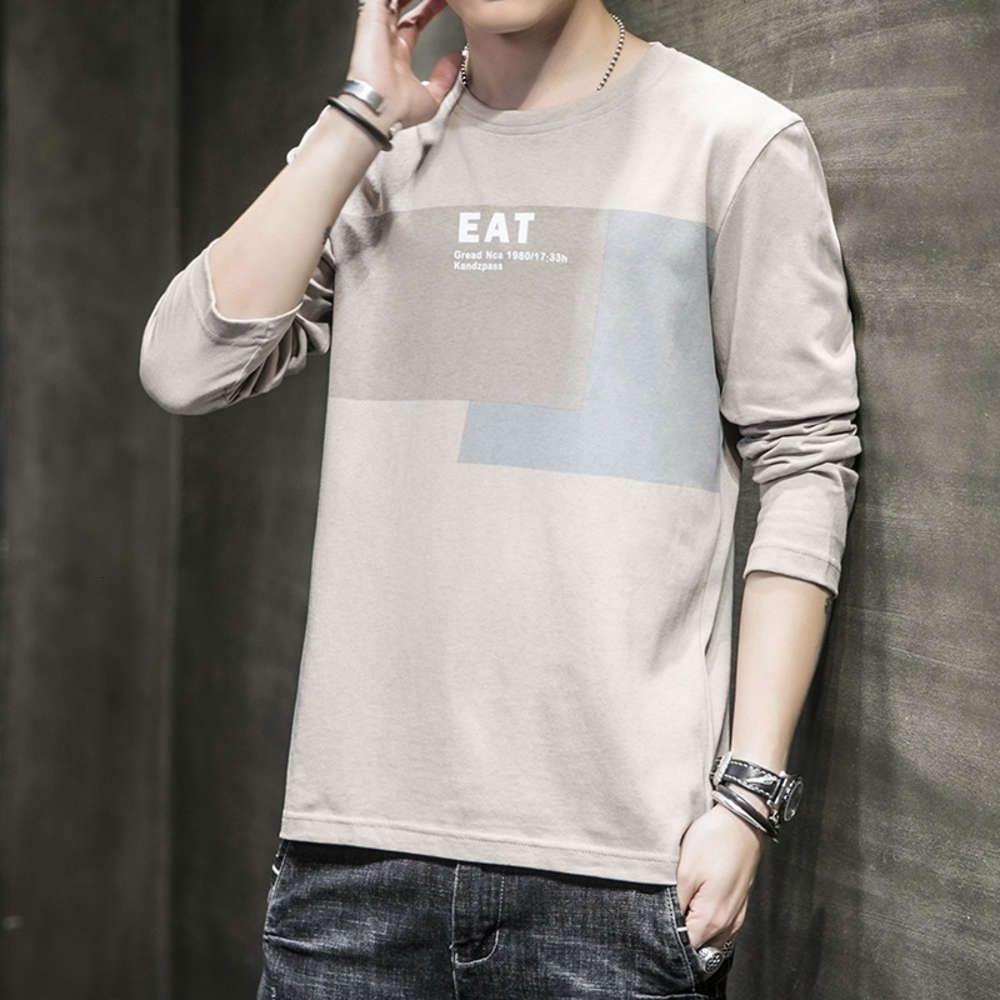 Tops 100 хлопчатобумажная футболка с длинным рукавом 2021 марка мода осень свободные дна рубашки мужской мульти стиль