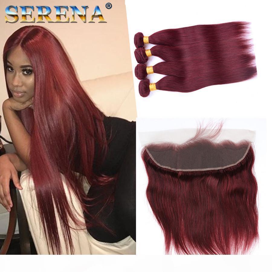 Pelo virginal peruano con cierre 4 paquetes de vino tinto recto Borgoña 99J tejido recto del cabello humano con un sitio web de cabello de cierre 13x4