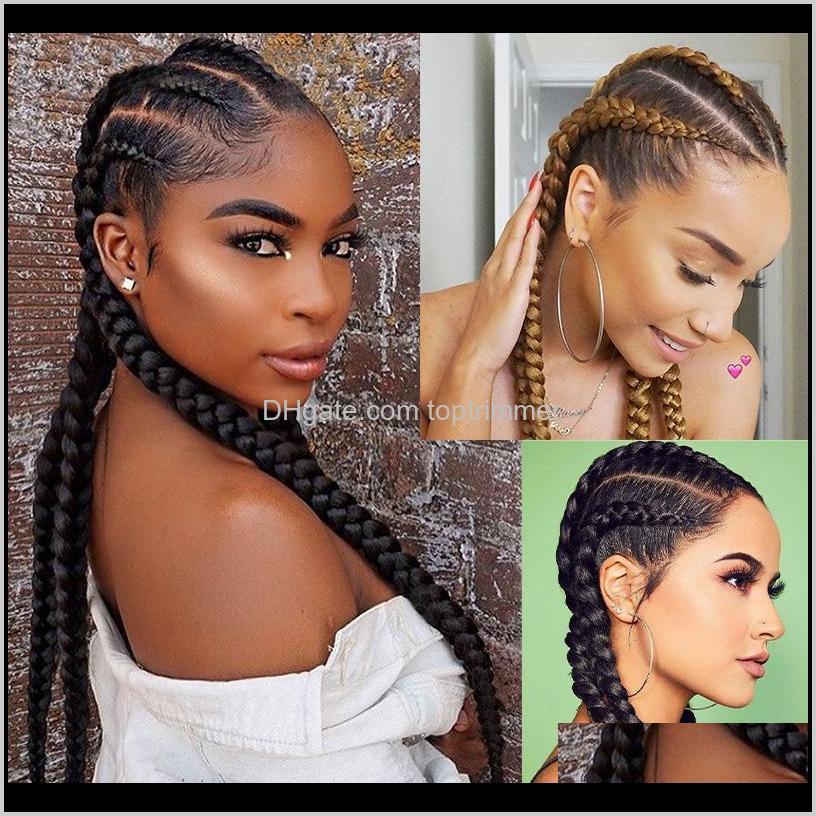 Produkte Drop Lieferung 2021 DILYS Front geflochten für schwarze Frauen Synthetische Cornrow Spitze Perücken mit Baby-Haar-Box-Flechten Perücke 28 Zoll Xlazs