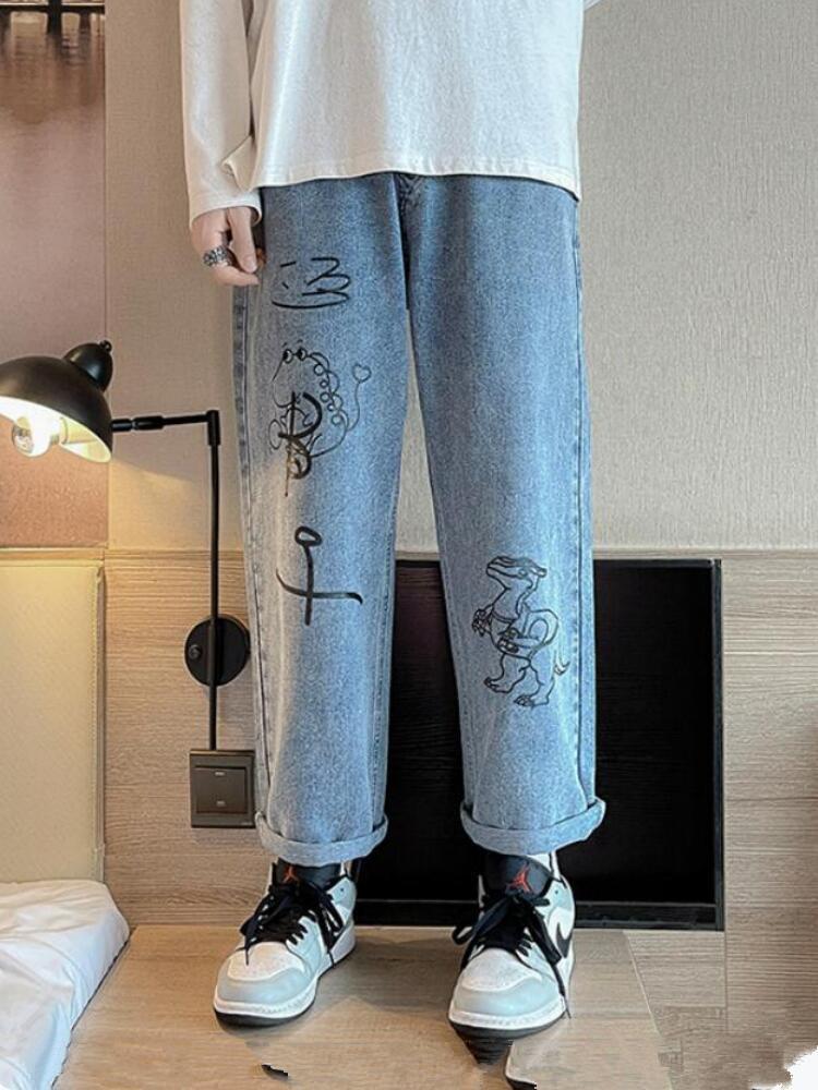 Männer Jeans Mode Herren Weinlese gewaschene Kordelzug Taille Cartoon Drucken Lose Harajuku Urban Stil Dad Denim Hosen Hosen W2327