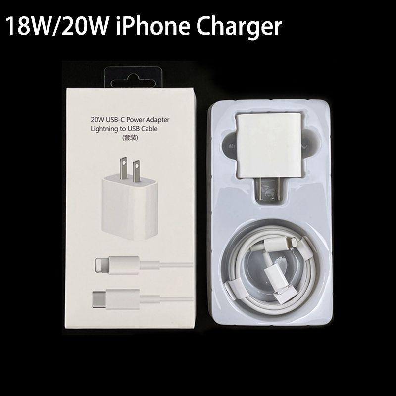 2 в 1 набор 18W 20W PD Type C USB зарядное устройство кабель быстрая зарядка EU US US Plug Adapter мобильный телефон доставка питания быстрых зарядных устройств для iPhone 12 11 x 7 Pro Plus Samsung