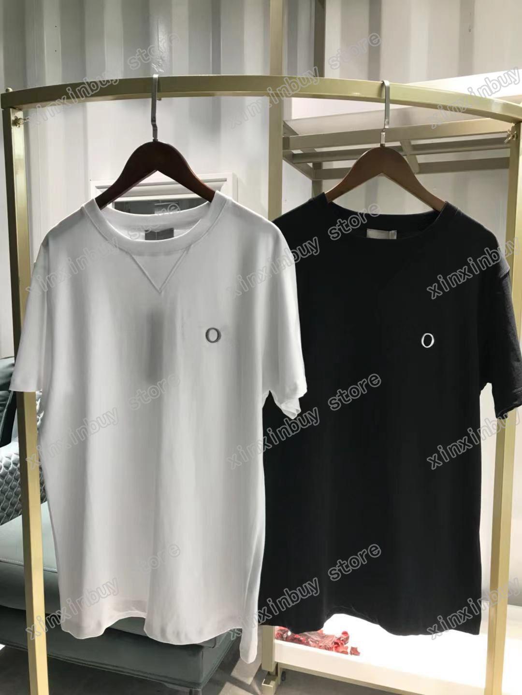 2021 Designer Mens Womens T-shirt Polo Lettera Pollo Ricamo Man Paris Moda T-Shirt Top Quality Tees Street Manica Corta Luxurys Tshirts Bianco nero 05