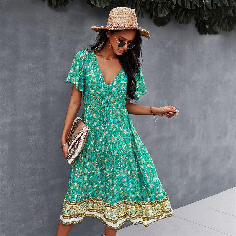 Casual Dresses Spring Print Women Short Sleeve V Neck High Waist For Woman Bohemian Summer 4VOQ