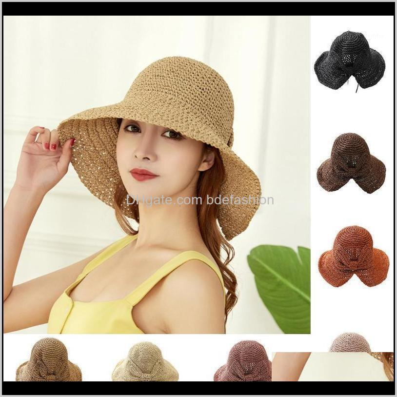 Sombreros de ala gorras gorras, bufandas guantes de moda aessiesfashionfashion ancho ancho bonito verano mujer arco sol sombrero floppy lado inflable mujer niña