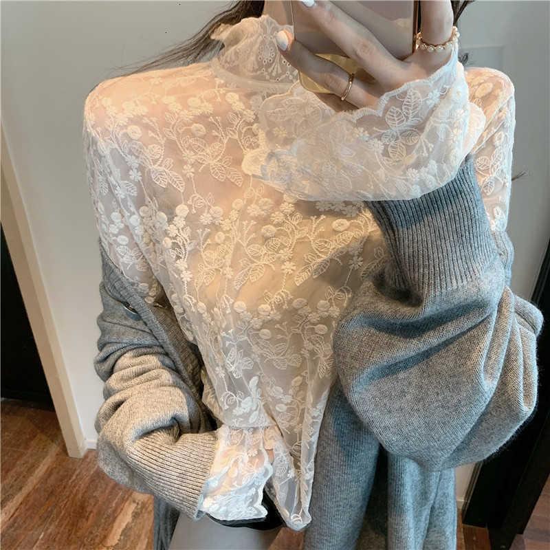 Frauen Blusen Hemden Spitze Bottoming Hemd Western Herbst und Winter Koreanische Pullover mit Halbband Hohlprinzessin Stil Top RI4A