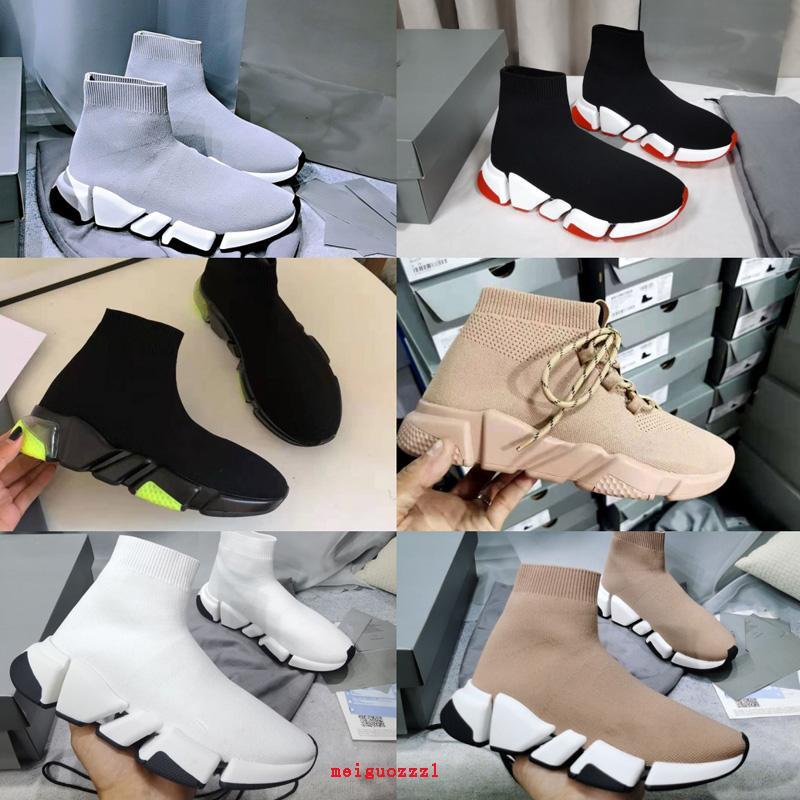 2021 Brand Mens Shoes Zapatos Damas Entrenadores Diseñadores Lujo Zapato Casual Moda Mujeres Botas 2.0 Triple Paris Sock Zapato Crystal Bottom Fondo Top Sneakers