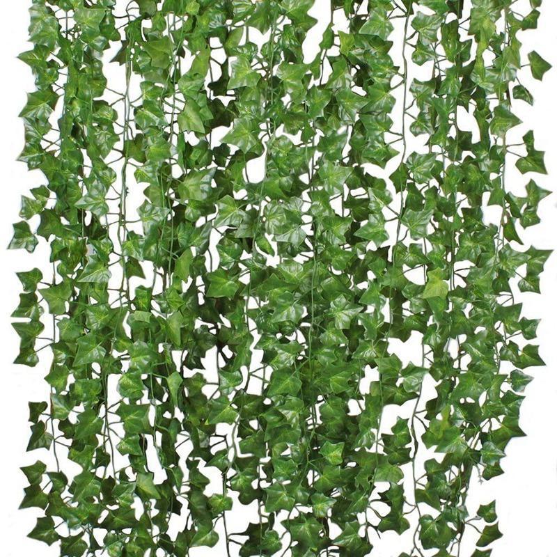 12Pcs Artificial Ivy Vine Hanging Garland False Leaf Vine Family Garden Wedding Wall Decoration, 84 Feet, Green