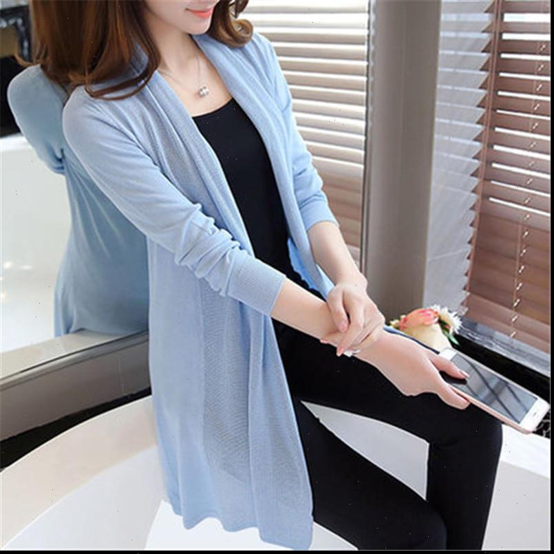 The spring in Womens Sweater loose long cardigan shawl female thin coat for summer