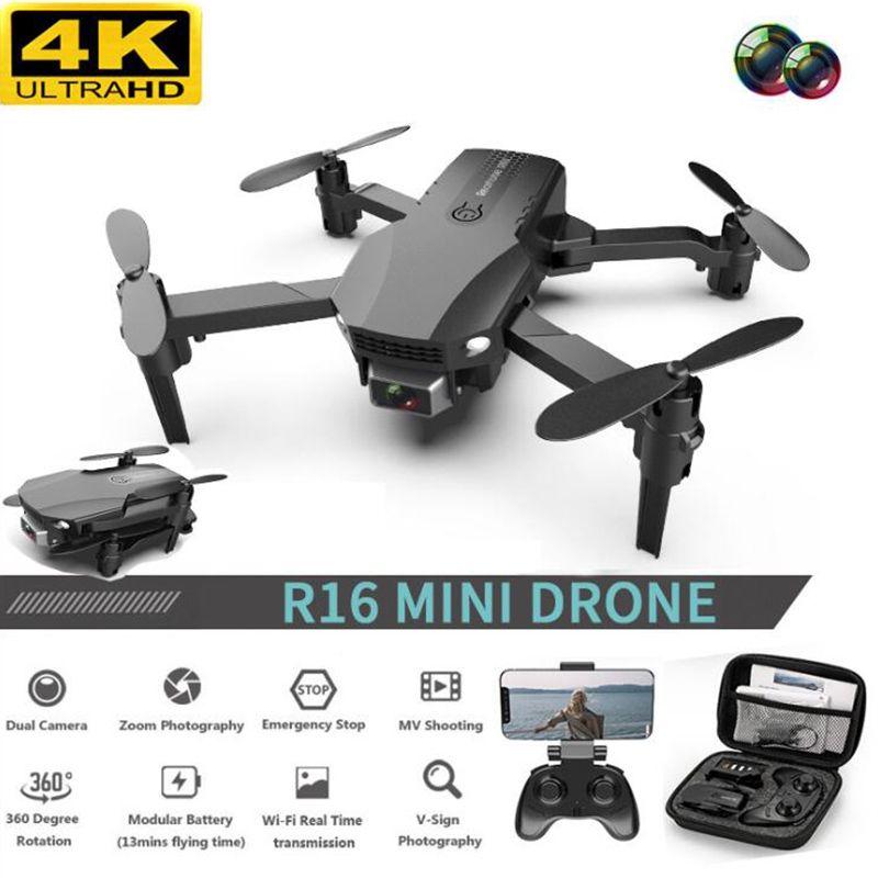 جديد R16 بدون طيار 4 كيلو hd عدسة مزدوجة البسيطة بدون طيار wifi 1080 وعاء في الوقت الحقيقي نقل fpv بدون طيار كاميرات مزدوجة طوي rc quadcopter لعبة