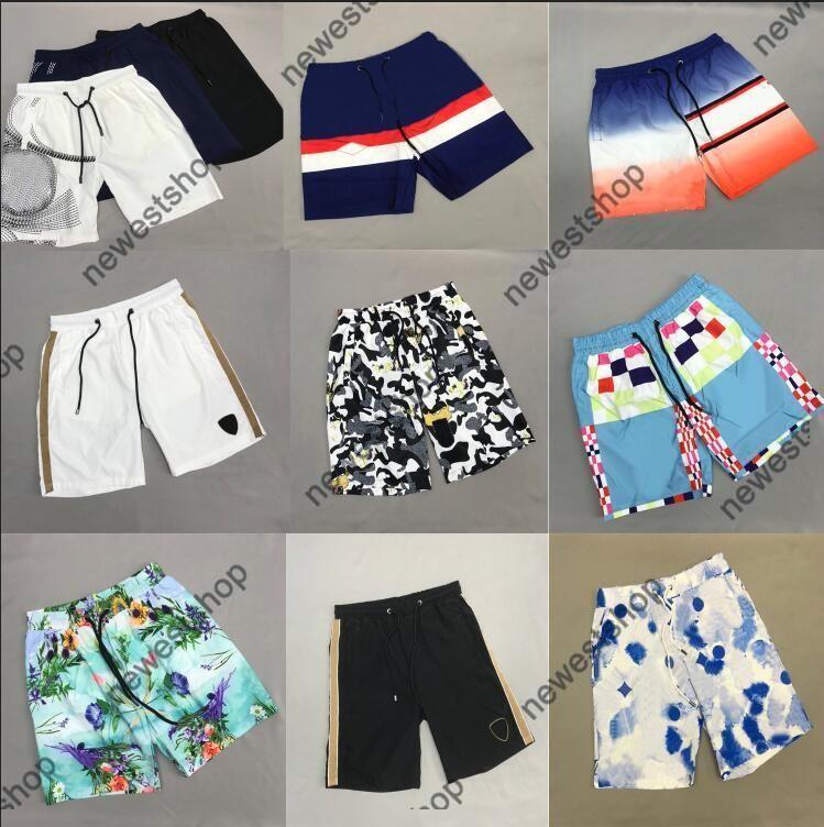 2021 Nuevo Diseñador de verano Classic Letra Letra Imprimir Shorts Men Womens Gradient Color Print Shorts Pantalones de moda Casual Algodón Solid Shelles