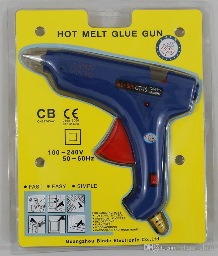 100W حار تذوب الغراء بندقية مع التبديل GT-10 11MM الغراء عصا بندقية الساخنة الغراء بندقية بالجملة مع حزمة البيع بالتجزئة