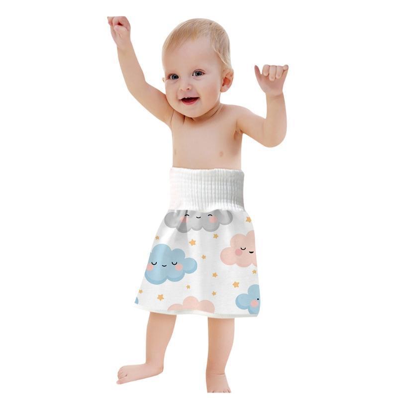 1 아기 기저귀 스커트 순수 코튼 높은 허리 방수 훈련 바지 반바지 헝겊 기저귀
