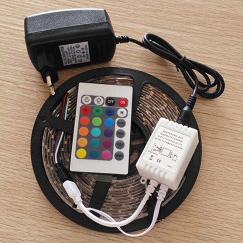 LED 스트립 300 SMD 비 방수 플렉시블 라이트 테이프 + 24W 전원 어댑터 + (24 키 IR 컨트롤러 스트립 만 있음