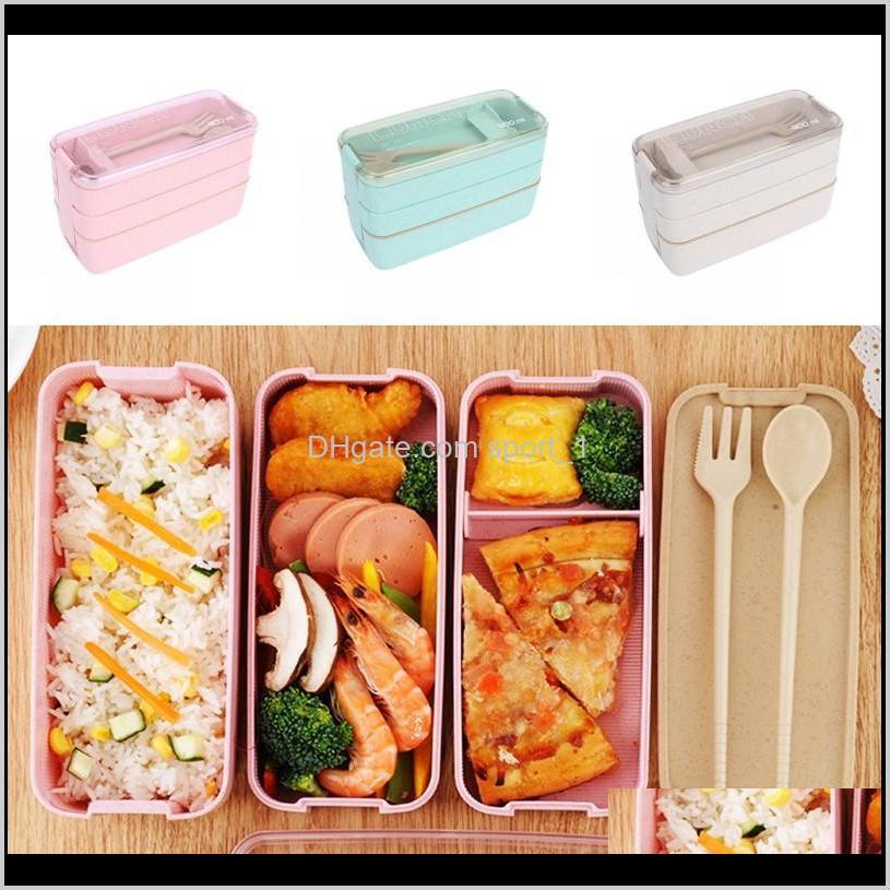 Kitchen Housekeeping Organization Home Garden Drop Delivery 2021 Healthy Material Lunch Box 3 Layer 900Ml Wheat St Bento Boxes Microwave Dinn