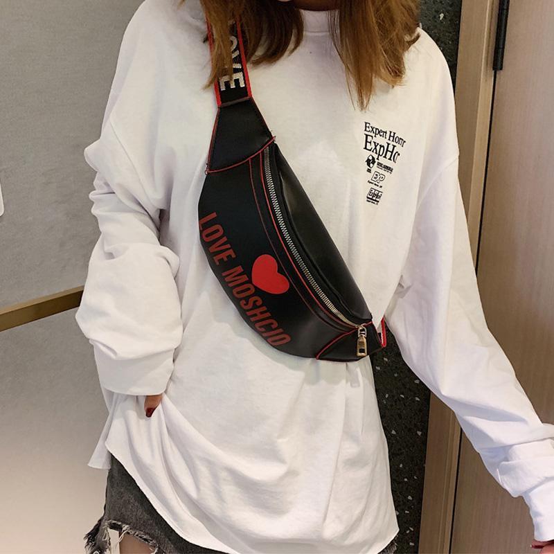 Bel Çanta Tasarımcı Lüks kadın Çantası PU Deri Kemer Mektubu Crossbody Göğüs Kadın Kalp Fanny Paketi Hip Hop Muz Çanta
