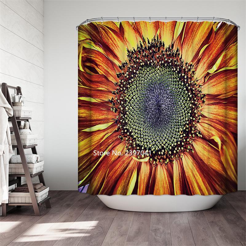Duschvorhänge Home Dezember Sonnenblume Skizze ölgemalte Blume Mond Vorhang Badezimmer Partition wasserdicht und formbeständig Haken