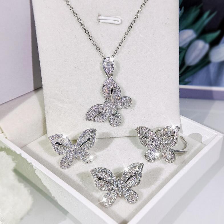 2021 Star Ins Live Jewelry Jewelry Set 925 Sterling Silver Pavy Bianco Sapphire CZ Diamond Butterfly Open Regolabile Anello Orecchino Bridal Clavice Collana Regalo