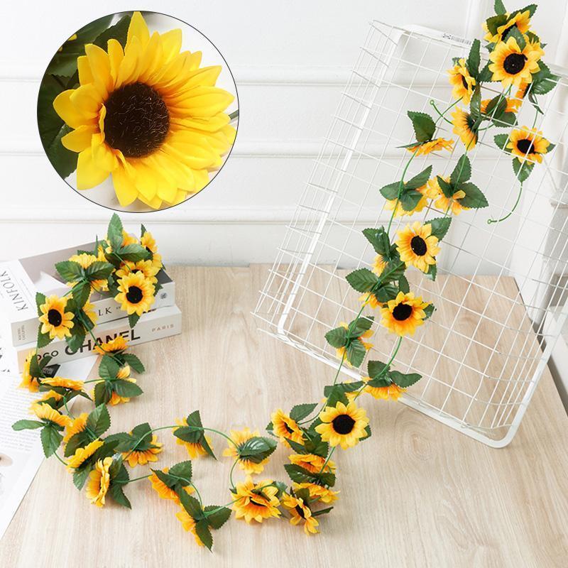 Flores decorativas guirnaldas simulación girasol flor vid 10 gran idílico arreglo de boda ratán decoración casa tubo de bobinado