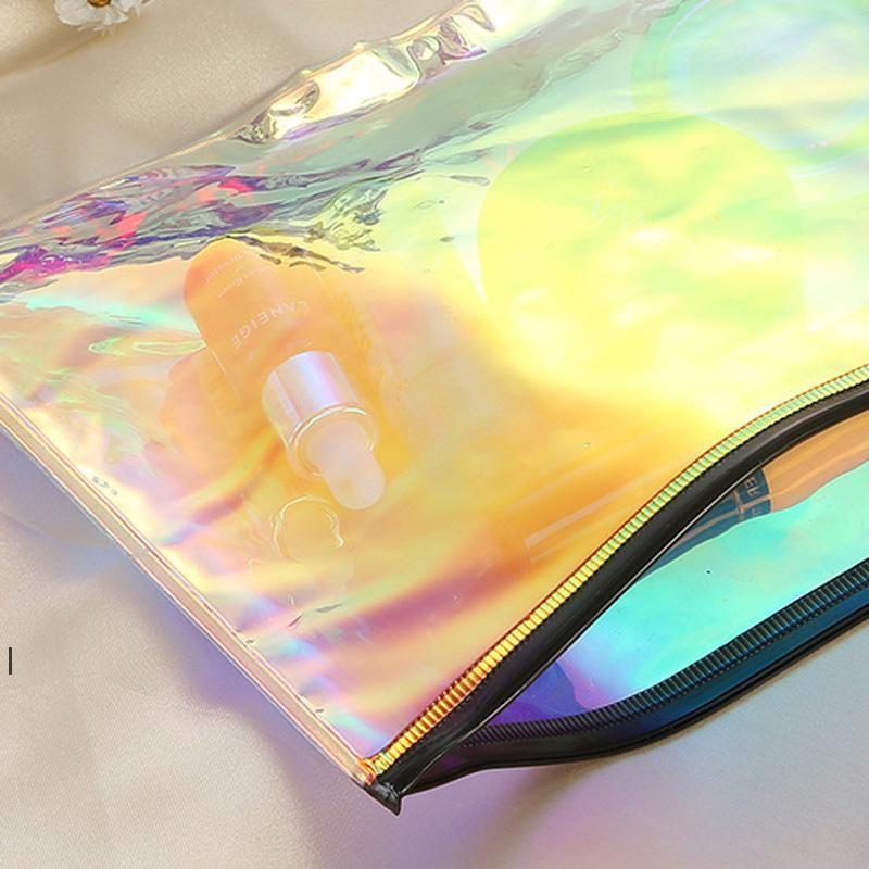21CMX16CM PORTABLE PANABLE PVC Transparent Grande capacité Sac de cosmétique Laser Rainbow étanche Sac de lavage Sacs de rangement OWD7521