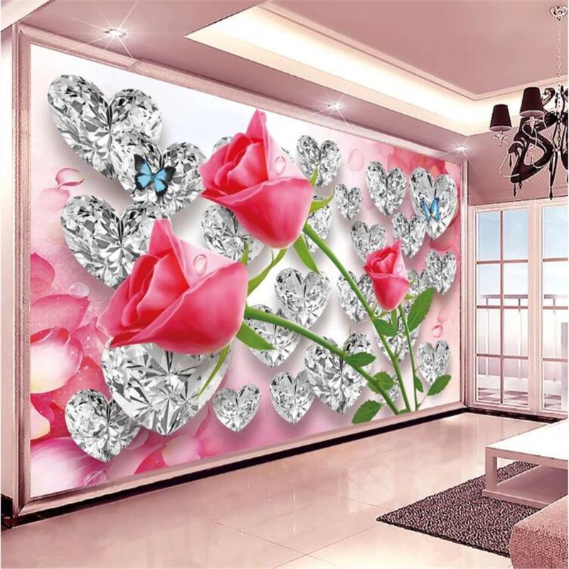 Milofi özelleştirilmiş 3d po duvar kağıdı duvar elmas gül aşk üç boyutlu romantik tv ev dekorasyon arka plan duvar duvar kağıtları