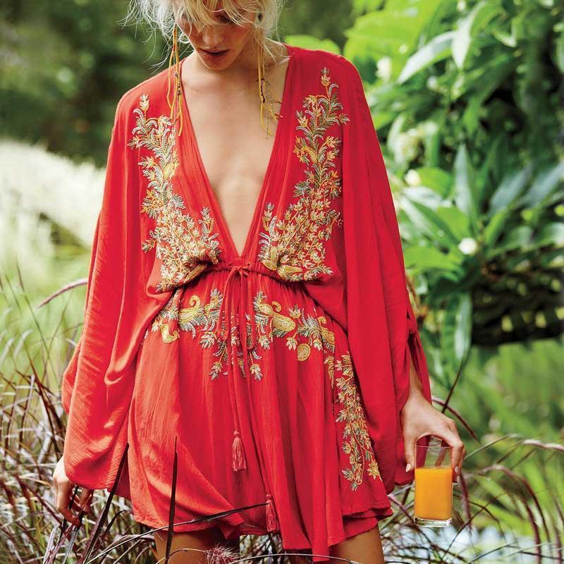 Kleid sexy sommer frauen kleider strand stil baumwolle gestickte tiefe ven nein kordelzug taille halbe hülse mini frauen marke kleidung